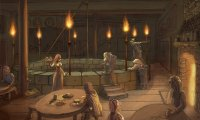 Cozy tavern with lute
